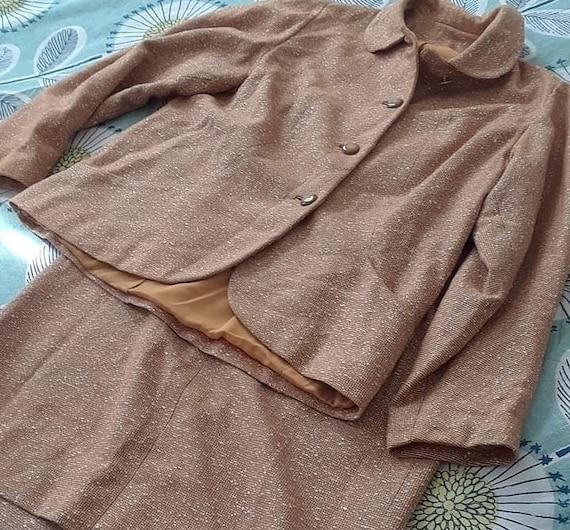 50s Skirt Suit, 1950s,  Flecked Tweed, Back Belt,