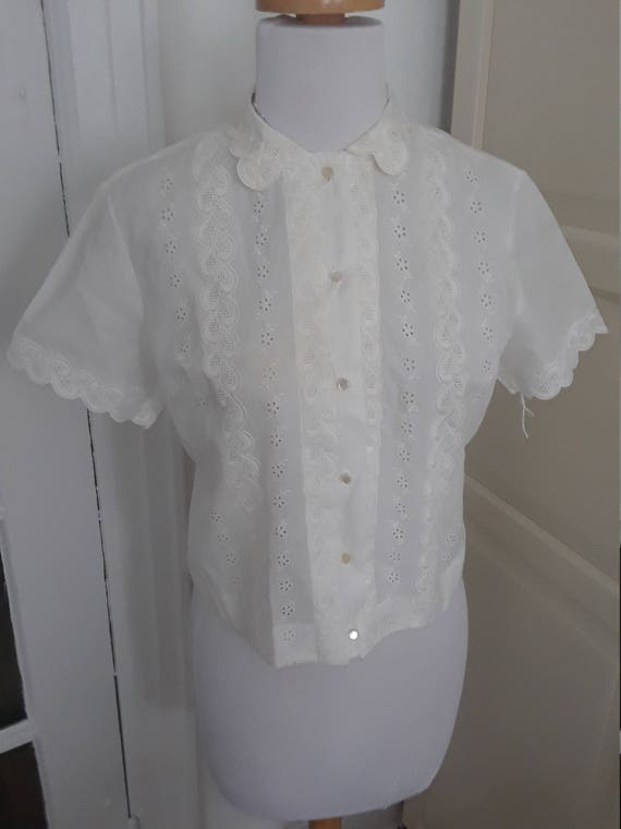 50s Blouse, White, 1950s, NOS, Embroidered, Eyelet