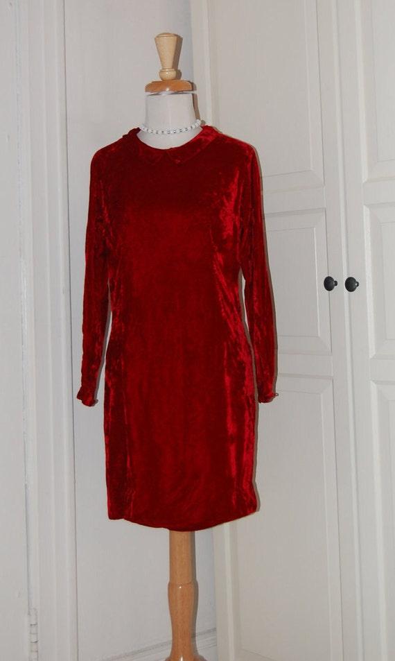 60s Dress, Mod, Scarlet Velvet, 1960s, Red, Mini,