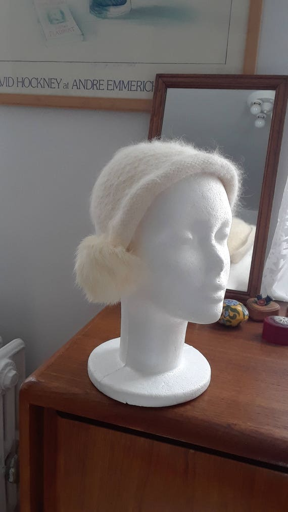 1950s Snowball Hat, Angora, Cashmere, Half Hat