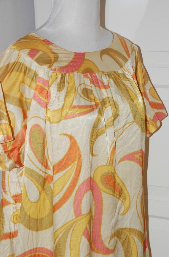 70s Dress, Mod, Paisley, Caftan, Shift,Keyloun, Ho