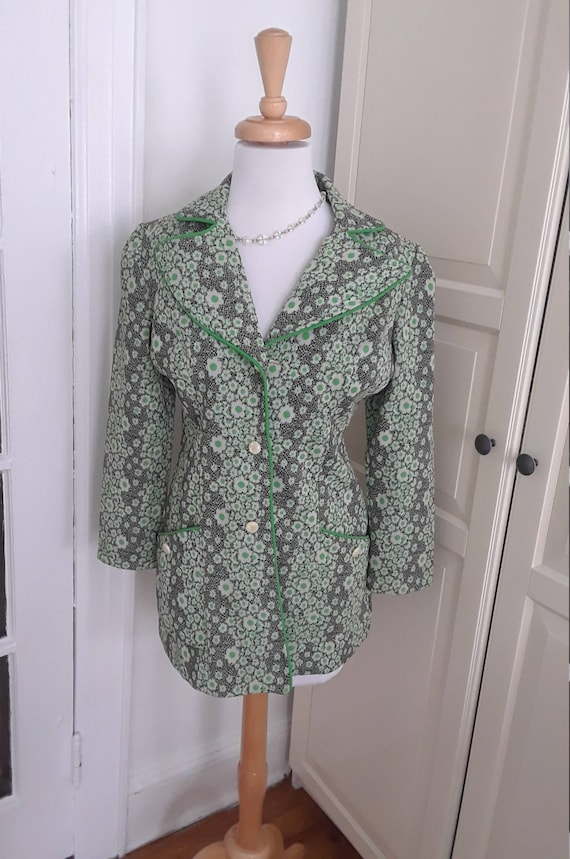 60s 70s Jacket, Mod, 1970s, Blazer, Flower Power,