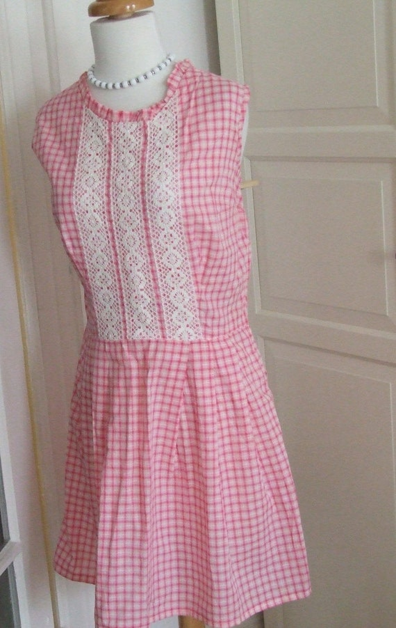 50s Dress, Pink, 1950s, Gingham, Cotton, Picnic Dr