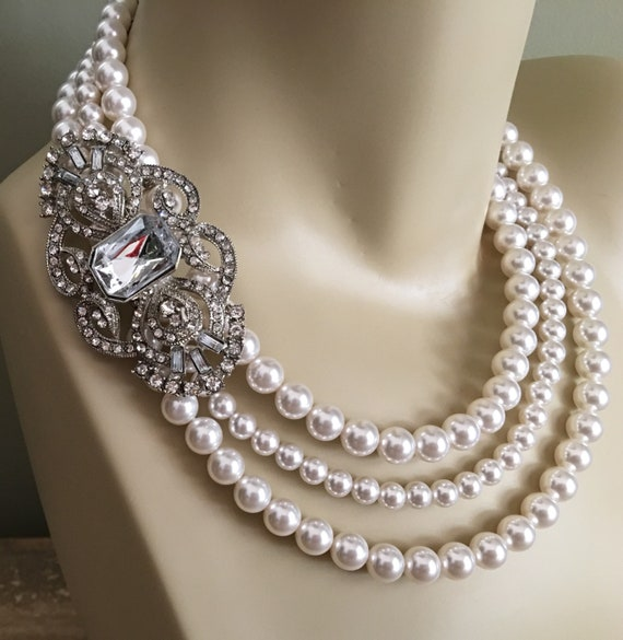 Bridal Pearl And Rhinestone Necklace And Earrings Set//Formal//Evening Set