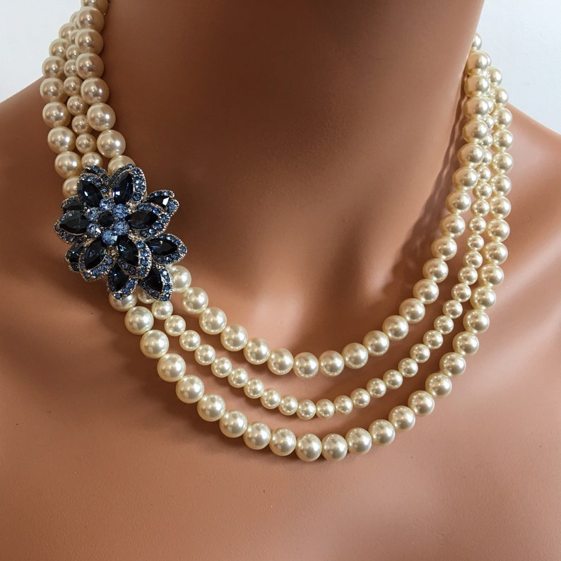 Pearl Necklace with Brooch in Navy Blue Rhinestone and Cream image 0