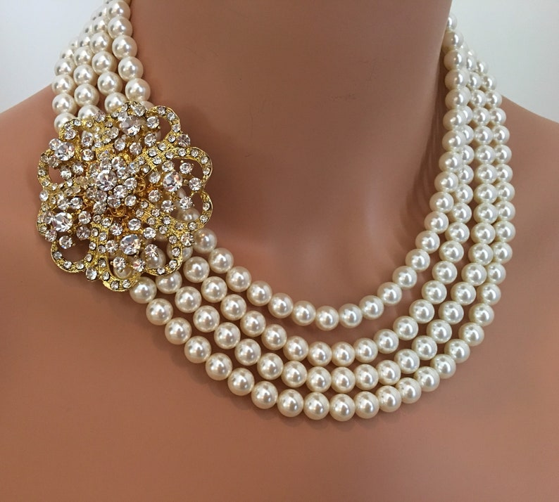 Wedding Necklace with Brooch in Gold and Cream Ivory Swarovski image 0