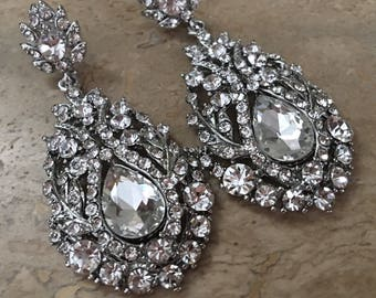 Long Rhinestone Earrings silver or gold and clear rhinestone formal earrings bridal earrings elegant chandelier earrings mother of the bride