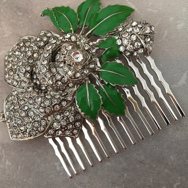 Flower Hair Comb rhinestone hair accessory in silver with rose image 0