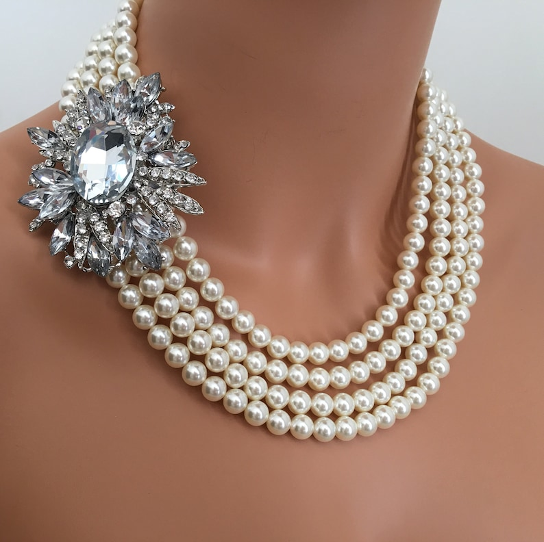 Pearl Necklace with Brooch Earrings Set 4 Strands Cream or image 0
