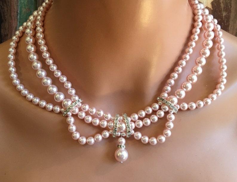 10062e56fe978 Pearl Bridal Necklace Set Blush Rosaline Pink 3 multi strand Swarovski  pearls Vintage Victorian style with rhinestone wedding jewelry sets