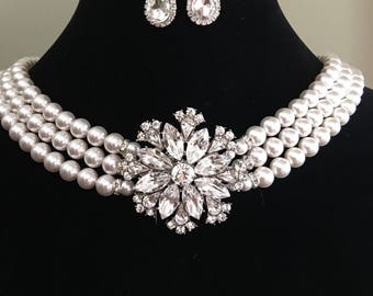 Holly GoLightly Pearl Necklace with Brooch and Earrings in Silver or Gold 3 strands Swarovski Pearls backdrape