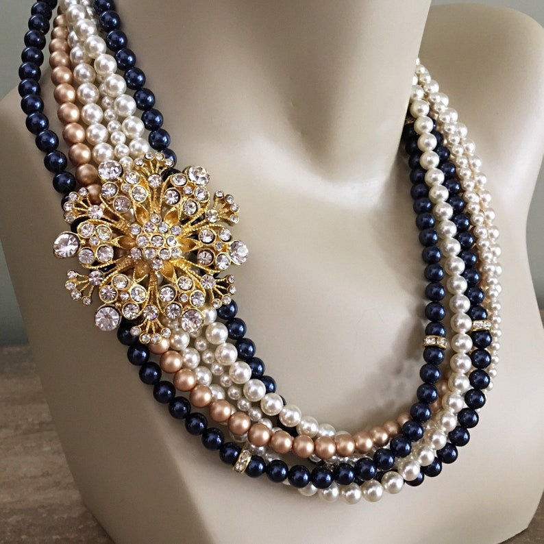 Navy Blue and Gold Necklace Set Pearl Necklace with Brooch image 0