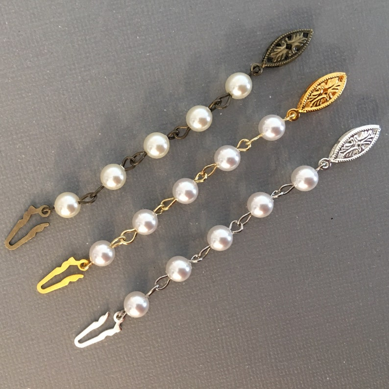 Long Necklace Extender in Pearl with fish hook clasp in Gold image 0