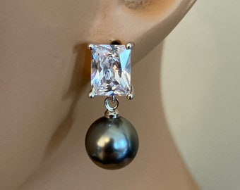 Gray Pearl Earrings Dark Charcoal Grey Pearl Earrings with Silver or Gold Emerald Cut rhinestone post wedding mother of the bride classic