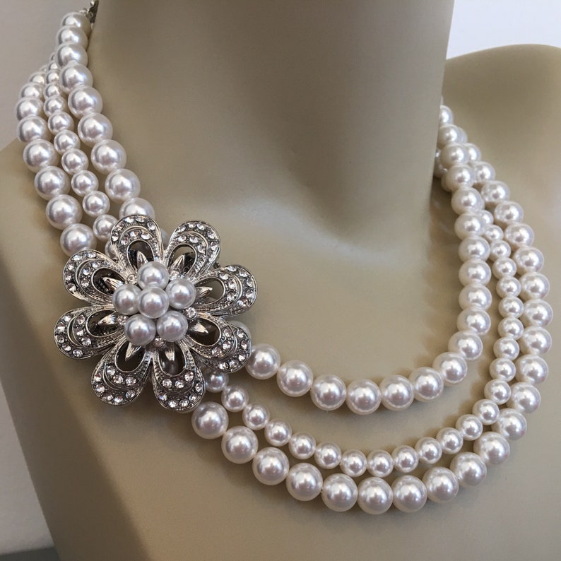 Pearl Wedding Necklace with Brooch 3 strands White Swarovski image 0