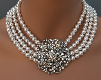 Audrey Hepburn Necklace with Pearl Rhinestone Brooch multi strand Statement Pearls Breakfast at movie Holly Golightly Bridal Shower gift