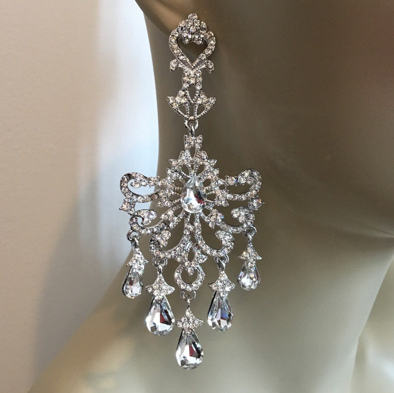 Long Rhinestone Earrings in silver with clear crystal image 0