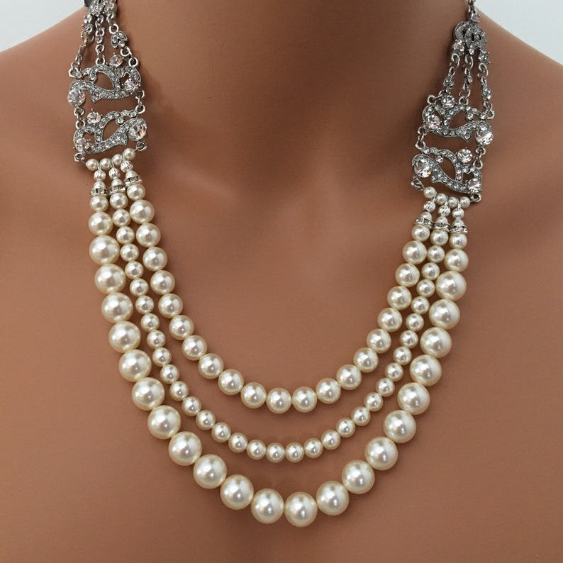 Long Pearl Necklace with Backdrop and Art Deco rhinestone image 0