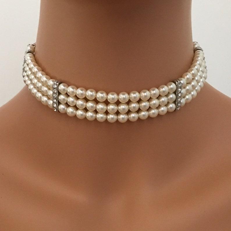 Pearl Choker Necklace Set 3 strands Cream Ivory Swarovski image 0