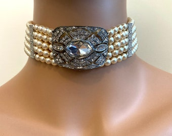 Pearl Choker Necklace with Antique Victorian Rhinestone focal 5 strands crystal glass Pearls in Light Gold Art Deco Choker Gatsby Gatsby