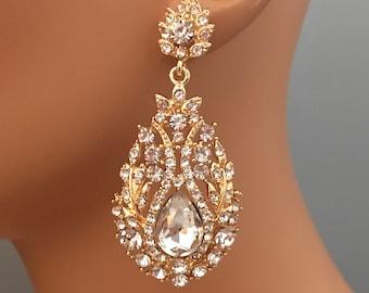 Long Gold Earrings Gold or silver and clear rhinestone formal wedding rhinestone earrings chandelier earrings mother of the bride