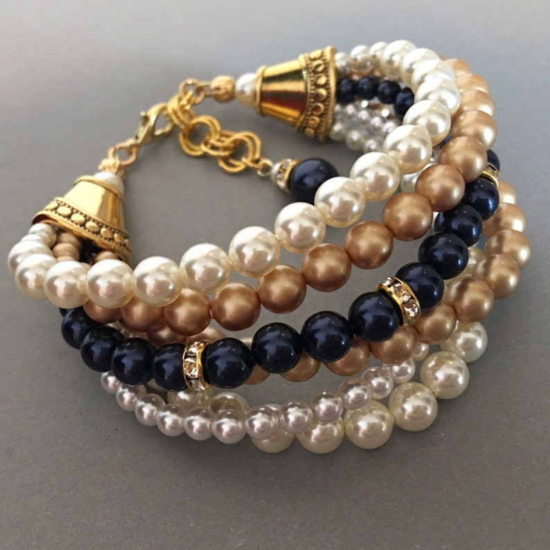 Navy Blue Bracelet with Gold metal accents 6 multi strands image 0