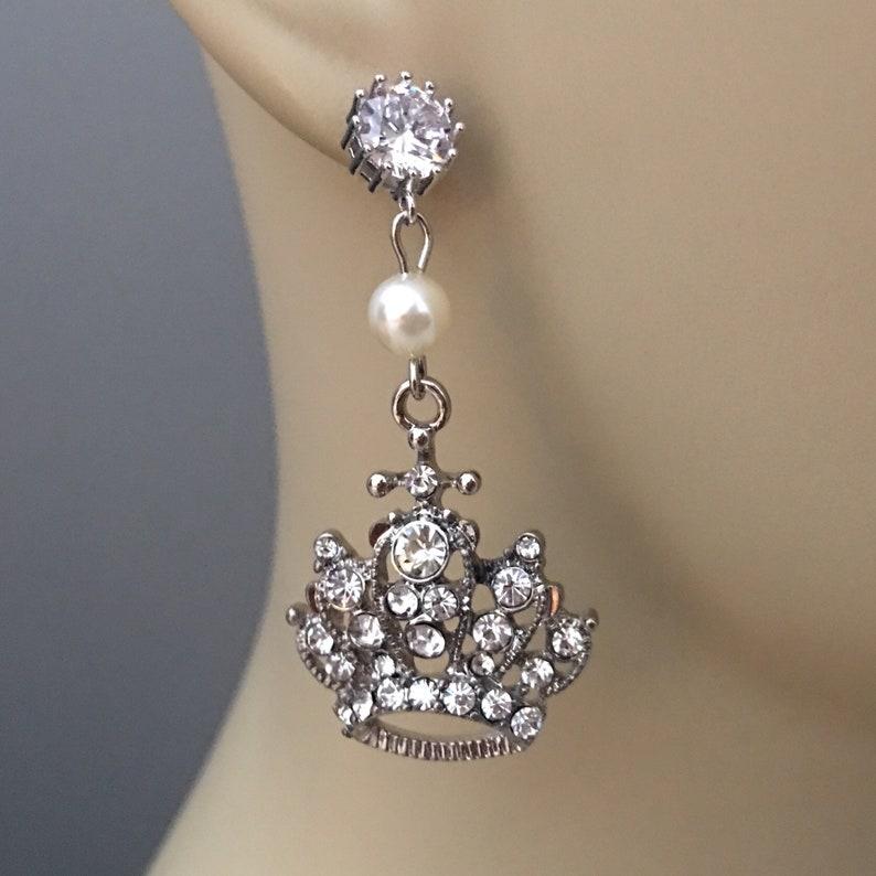 Long Rhinestone Earrings Princess Crown Wedding Earrings with image 0