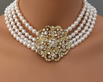 Pearl Statement Necklace with Gold Brooch or Silver multi strand Cream Ivory or White Swarovski Pearls mother of the bride wedding jewelry