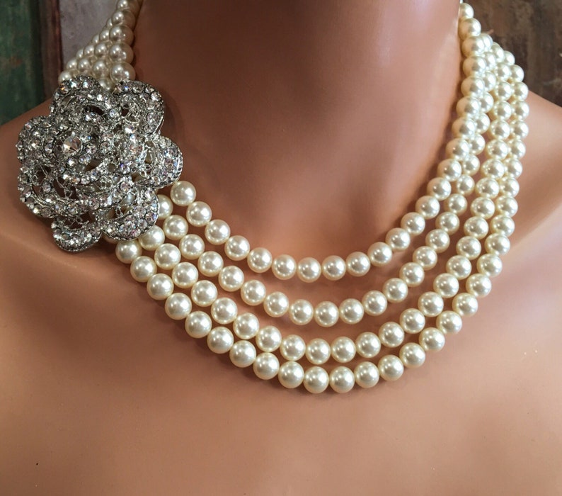 Pearl Wedding Jewelry Set Necklace with Brooch Bracelet and image 0