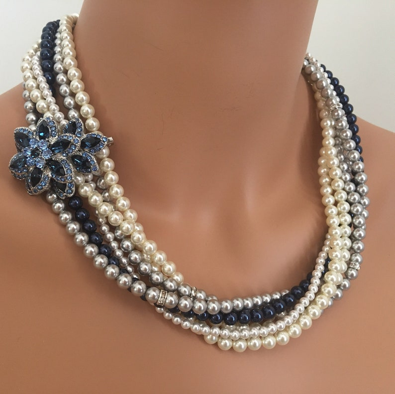 Navy Blue Pearl Necklace Set with Brooch and Earrings Light image 0