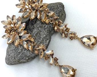Long Champagne Earrings Long Rhinestone Wedding Earrings in Gold with topaz citrine champagne navettes pierced