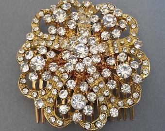 Rhinestone Hair Comb In Gold Bridal Headpiece Crystal Comb, Wedding Accessories,tiara, Bridal Jewelry, Wedding Hair Comb