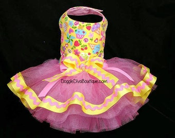 4f885da3c870 Dog Cupcake Tutu Dress_Dog Ice Cream Dress_ Pink and Yellow Dog Dress_XXS,  XS, Small or Medium, Custom available