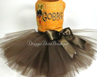 Dog Dress, Dog Tutu Dress, Dog Thanksgiving Dress, Dog Turkey Dress, Little Miss Gobble Gobble,  Small or Medium