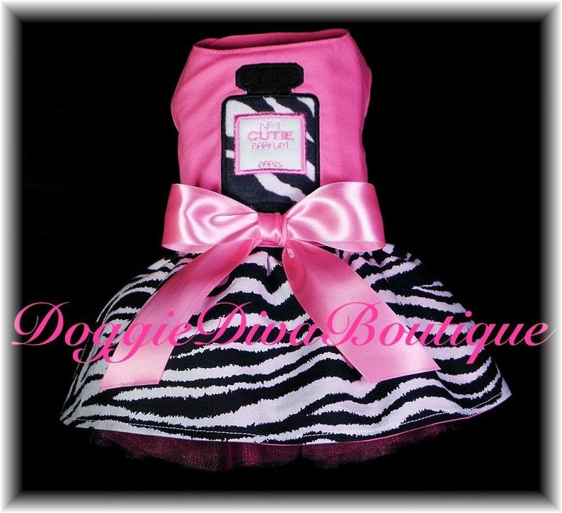 Dog Dress Hot Pink Zebra Perfume Parfum Applique Medium Etsy