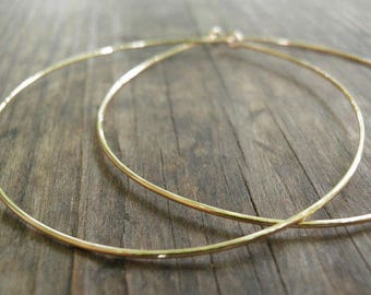 Solid Gold Hoops Etsy