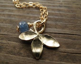 November Birthday, Statement Necklace, Genuine Blue Sapphire, Petal Necklace, September Birthstone, Romantic Gift For Her ,Flower Pendant