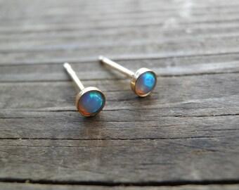 Opal Earrings, Opal Stud Earrings, White Opal Studs, Blue Opal Stud Earrings, Blue Opal Earrings ,silver stud earrings ,october birthstone