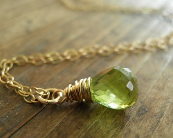 August Birthstone, Green Rough Cut Peridot Necklace, Princess Green Necklace, Genuine Peridot Faceted Full Drop Briolette, Gold Filled Chain