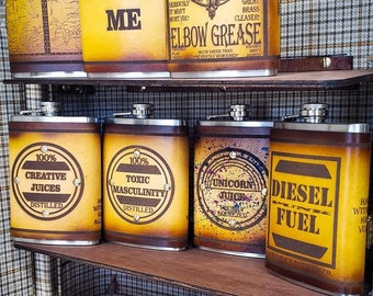 8oz Leather Bound Flasks Assorted Designs