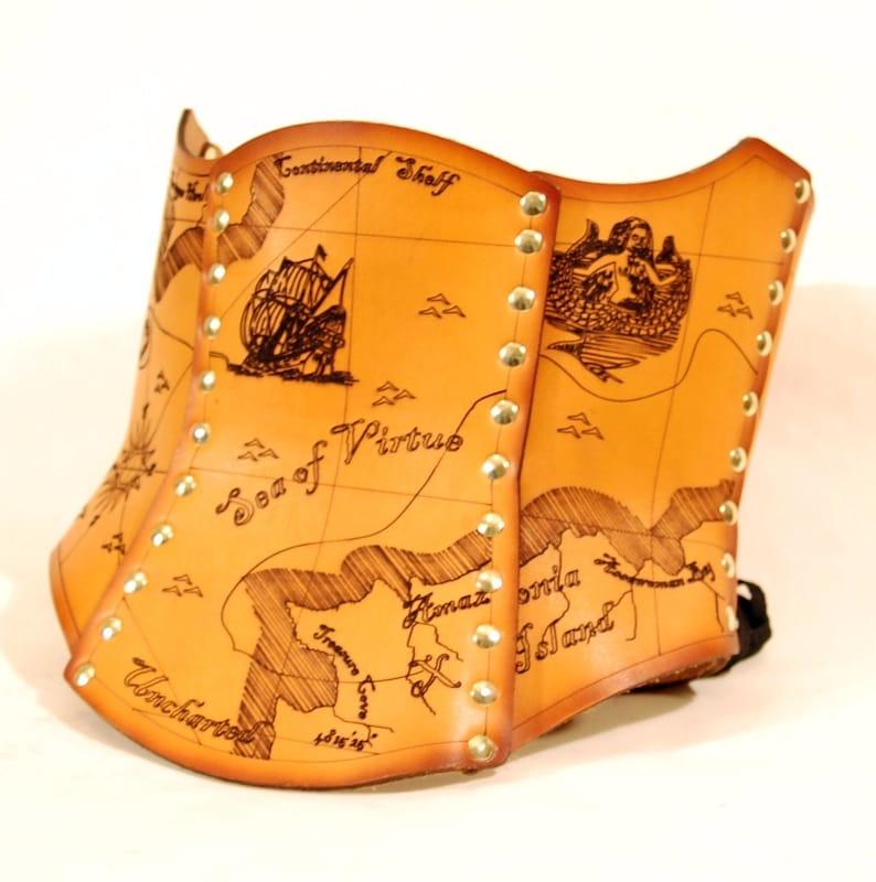 Hard Leather Treasure Map Corset  Custom image 0