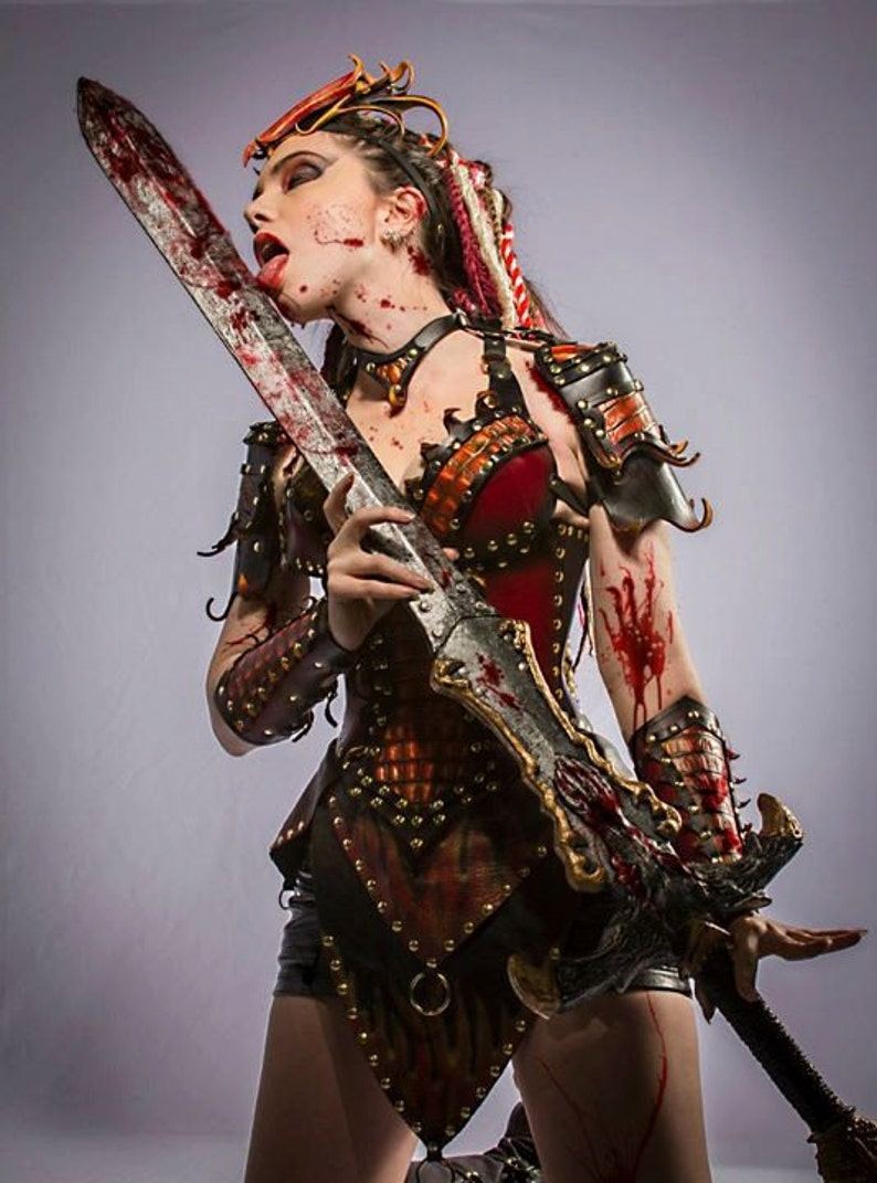 Ladies' Leather Red Dragon Slayer Fantasy Armor image 0