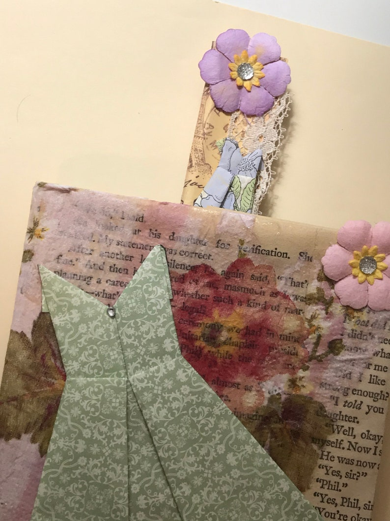 Junk journal Pen  Bookmark Beautifully hand crafted paper pen bookmark with embellishments!