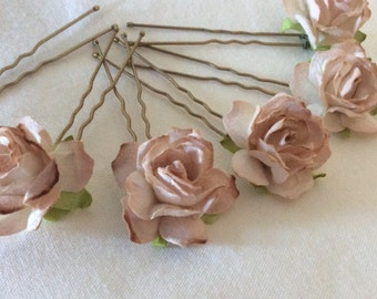 Beige/Biscuit Rose Hair Pins x 8. Wedding Bridal