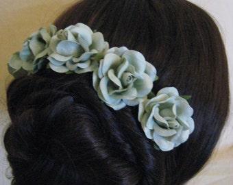 Hair Pins x 5. Sea foam/Sage Paper Roses. Bridal, Regency, Victorian.