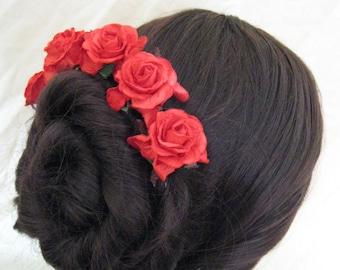Rose Hairpins x 5. Red. HANDMADE. Paper. Bridal, Regency, Victorian.