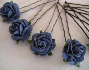 Navy Blue Rose Hairpins x 8. Wedding. Bridal. Prom.