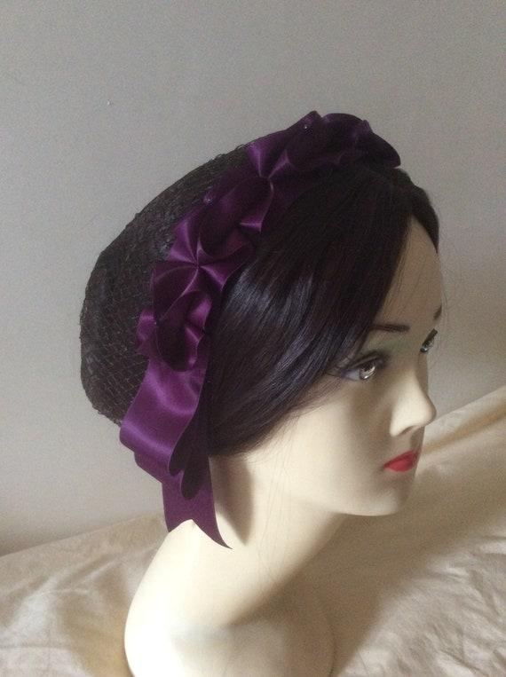 221522a4e68f8 Civil War, Victorian Hairnet, Snood. Plum Purple Satin. Pick your own  hairnet colour