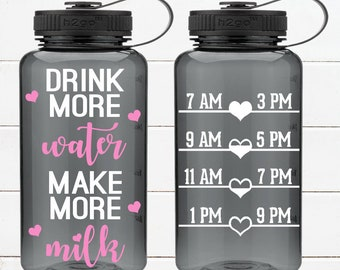 Drink more water, make more milk! Breastfeeding water bottle with water tracker - motivational time tracker - 34 oz water bottle - BPA Free