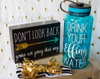Drink your EFFING water - TEAL water bottle with water tracker - motivational time tracker - 34 oz water bottle - BPA Free